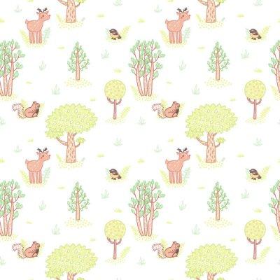 Adesivo Crianças estilo desenho bonito doodle árvores vector padrão sem emenda.