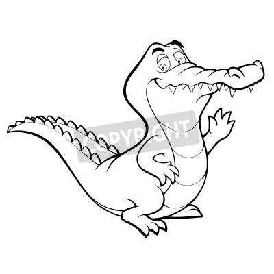 Crocodilo Dos Desenhos Animados Do Jacare Linha Arte De Colorir