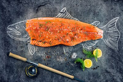 Adesivo Cru, salmão, peixe, bife, ingredientes, como, limão, pimenta, mar, sal, dill, pretas, tábua, esboçado, imagem, giz, salmão, peixe, bife, pesca, vara