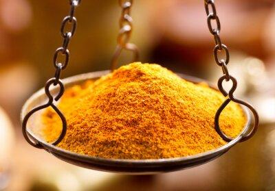 Adesivo Curry, tempero, pó, tigela, pesos