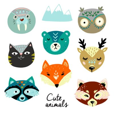 Adesivo Cute animals faces. Hand drawn baby design