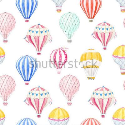Adesivo Cute balloon watercolor pattern.  aerostat