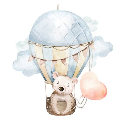 Adesivo Cute cartoon baby bear animal hand drawn watercolor bunny illustration with air balloon. kids nursery wear fashion design, baby shower invitation card.