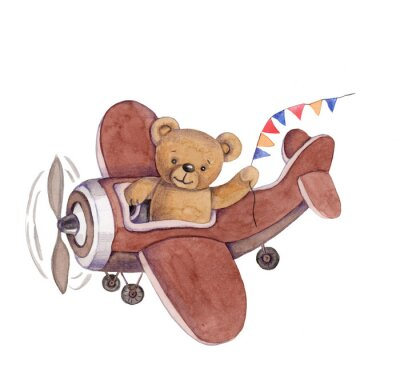 Adesivo Cute cartoon toy animal teddy bear in plane, watercolor illustration, hand draw, isolated on white.