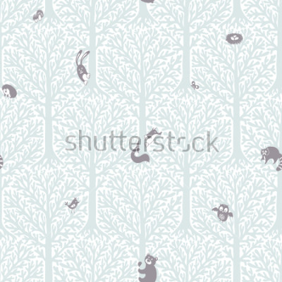 Adesivo Cute forest with animals and birds. Great decor and wallpaper for baby, kids and nursery room in Scandinavian style. Vector seamless pattern. Cute Nordic background with forest animals in the woods