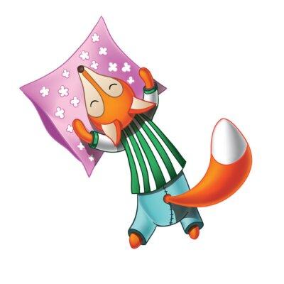 Adesivo Cute fox cartoon em pijamas dorme