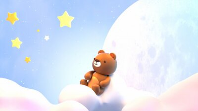 Adesivo Cute little bear sitting on soft pastel clouds and watching beautiful night sky with stars in front of the white full moon. 3d rendering picture.
