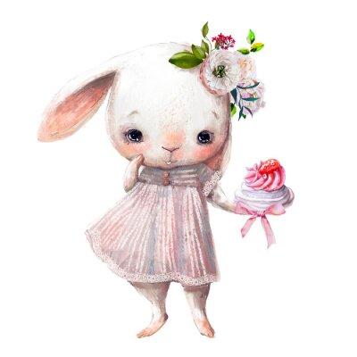 Adesivo cute little bunny girl with cake