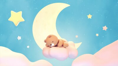 Adesivo Cute sleeping bear on lake green color background. Beautiful pastel pink clouds, yellow crescent moon, and stars. 3d rendering picture.