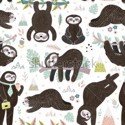 Adesivo Cute sleeping sloths seamless pattern. Adorable animal background. Vector illustration
