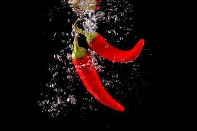 Adesivo Czerwona Papryka wpadająca fazer wody