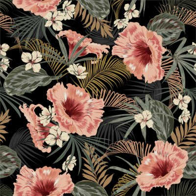 Adesivo Dark tropical forest at night seamless pattern wallpaper vintage mood leaves of palm trees and exotic of flowers design for fashion,fabric,web,wallpeper,and all prints
