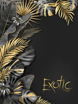 Adesivo De fundo Vector exotical com preto e ouro tropical deixa em fundo cinza escuro. Design botânico exótico de luxo para spa, perfume, cosméticos, aroma, salão de beleza etc.