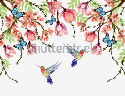 Adesivo De fundo vector verão bonito floral com flores tropicais japonesas, glicínias, magnólia, borboletas, magnólia. Perfeito para papéis de parede, planos de fundo de página da web, texturas de superfície,