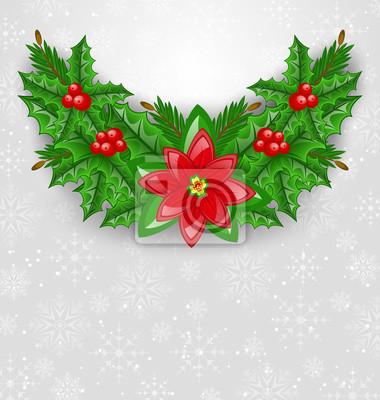Adesivo Decoração de Natal com baga do azevinho, pinheiro e poinsettia