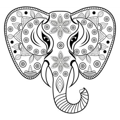 Adesivo Decorado, elefante, cabeça, vetorial, testa, elefante, decorado, vetorial, isolado, su ...