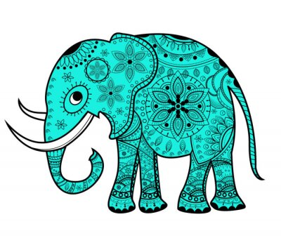 Adesivo Decorado, vetorial, elefante, elefante, vettoriale, decorato
