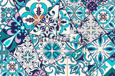 Adesivo Decorativo de fundo Vector. Padrão de mosaico de retalhos de design e moda. Azulejos portugueses, Azulejo, ornamentos marroquinos