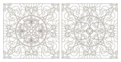 Adesivo Definir ilustrações de contornos de vitrais com redemoinhos abstratos e flores, imagem quadrada