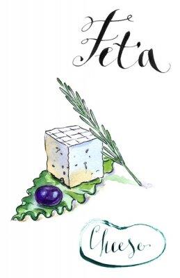 Adesivo Delicioso fatias de queijo feta grego com azeite, alecrim e sala