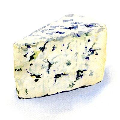 Adesivo delicioso queijo molde em um fundo branco