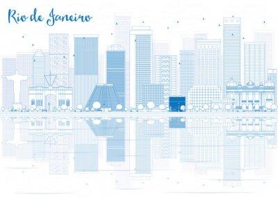Adesivo Descrição da foto: Skyline do Rio de Janeiro com edifícios azuis.