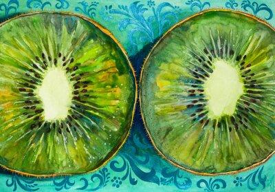 Adesivo Desenhando uma cor de água no papel, fruta, kiwi