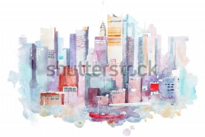 Adesivo desenho da aguarela da arquitectura da cidade de New York, EUA. Pintura aquarelle de manhattan