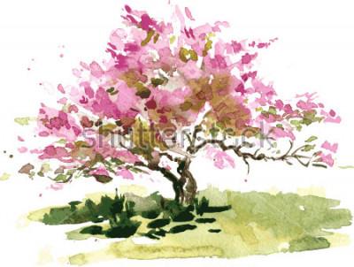 Adesivo desenho de árvore de flor de cerejeira aquarela, aquarelle desenho de flores de maçã florescendo, jardim de pintura, mão desenhada vector art ...