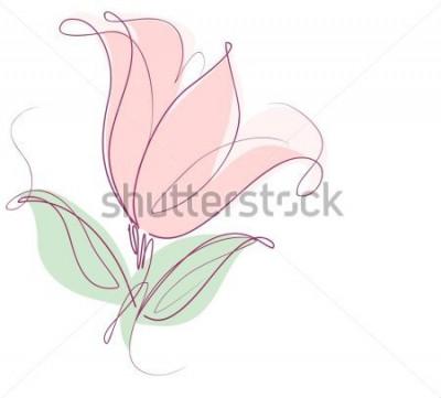 Adesivo Desenho de gráficos vetoriais com padrões florais com tulipas para o projeto. Design natural de flor floral. Gráfico, desenho de esboço. tulipa.