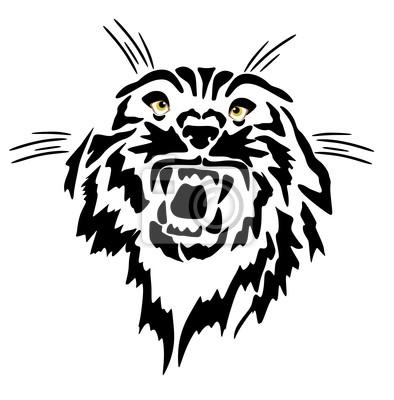 desenho de linha tatuagem de um rosnado felino laptop adesivos