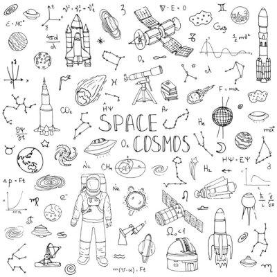 Adesivo Desenho desenhado mão Espaço e Cosmos conjunto Ilustração do vetor Universo ícones Conceito de espaço elementos Rocket Espacial navio símbolos coleção Sistema Solar Planetas Galáxia Via Láctea Astrona