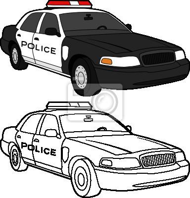 Desenho Do Vetor De Um Carro Cor E Linhas De Policia Laptop