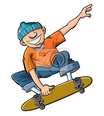 desenhos animados do menino pulando em seu skate laptop adesivos
