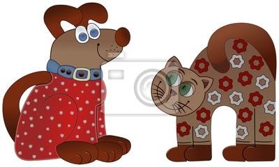 Desenhos Coloridos Gato E Cao Sentado No Chao Laptop Adesivos