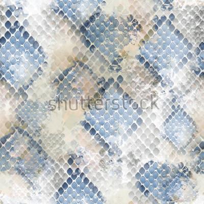 Adesivo Design selvagem padrão sem emenda. Fundo de pele de cobra com efeito aquarela. Impressão têxtil para roupa de cama, jaqueta, design de embalagem, tecido e conceitos de moda