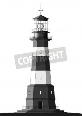 Adesivo detailed lighthouse isolated on white
