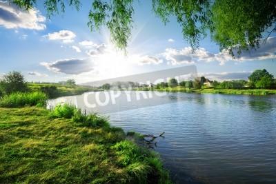 Adesivo Dia ensolarado em um rio calmo no verão