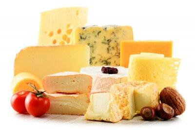 Adesivo Diferentes tipos de queijo isolado no fundo branco