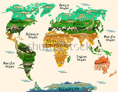 Adesivo Dinosaurs map of the world for children and kids