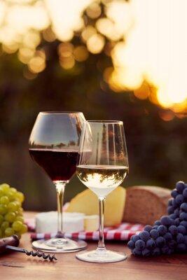 Adesivo Dois copos de vinho branco e vermelho
