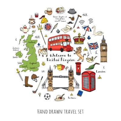 Adesivo Doodle desenhado mão Reino Unido conjunto Ilustração do vetor ícones do Reino Unido Bem-vindo aos elementos de Londres coleção de símbolos britânicos Chá Ônibus Equitação Golfe Coroa Cerveja Leão Bull