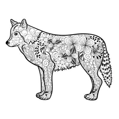 Adesivo Doodle do lobo