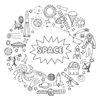 Adesivo Doodle espaço elementos