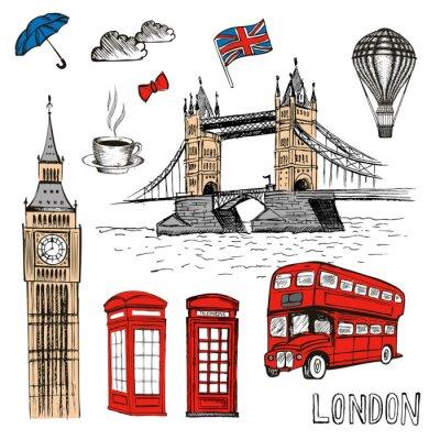 Adesivo Doodles de Londres. Vetorial, mão, desenhado, ilustração, com, londres, símbolos