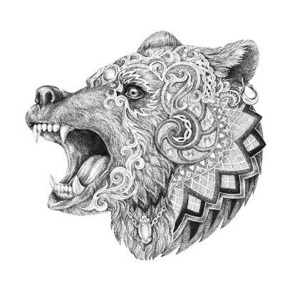 Adesivo Dotwork, tatuagem, cabeça furioso urso