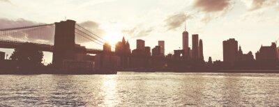 Adesivo Dourado, pôr do sol, sobre, Manhattan, Skyline, NYC, EUA