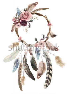 Adesivo Dreamcatcher boémio isolado da decoração da aguarela, decoração das penas do boho, projeto chique do sonho nativo, cópia tribal étnica do mistério, projeto da cultura americana, ornamento cigano, cole