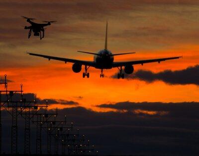 Adesivo Drone, voando, comercial, avião
