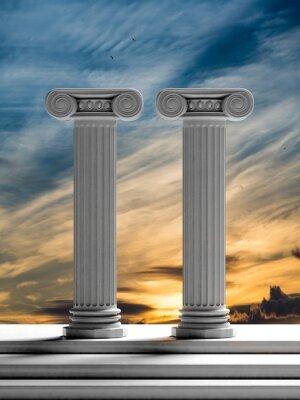 Adesivo Duas colunas antigas com fundo do céu do por do sol.